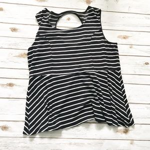 TORRID Black white Striped Peplum Tank Top